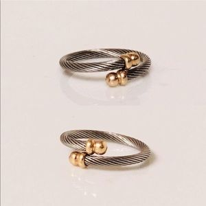 Jewelry - 18k Gold & Steel Cable Bypass Ring